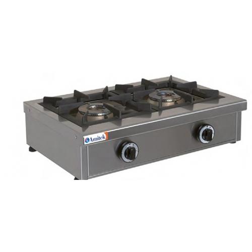 COCINA A GAS 2 QUEMADORES 6,5+6,5kW 680x490x210mm